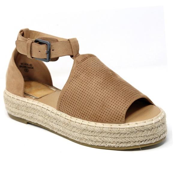 a9ac68cf0 Brown Peep Toe Flatform Espadrille Sandals NIB
